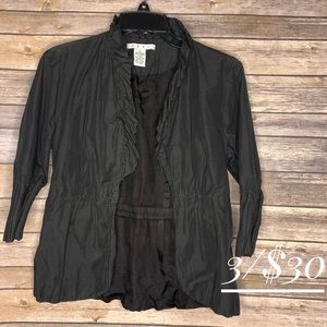 Cabi ruffled jacket size 4 black lightweight open